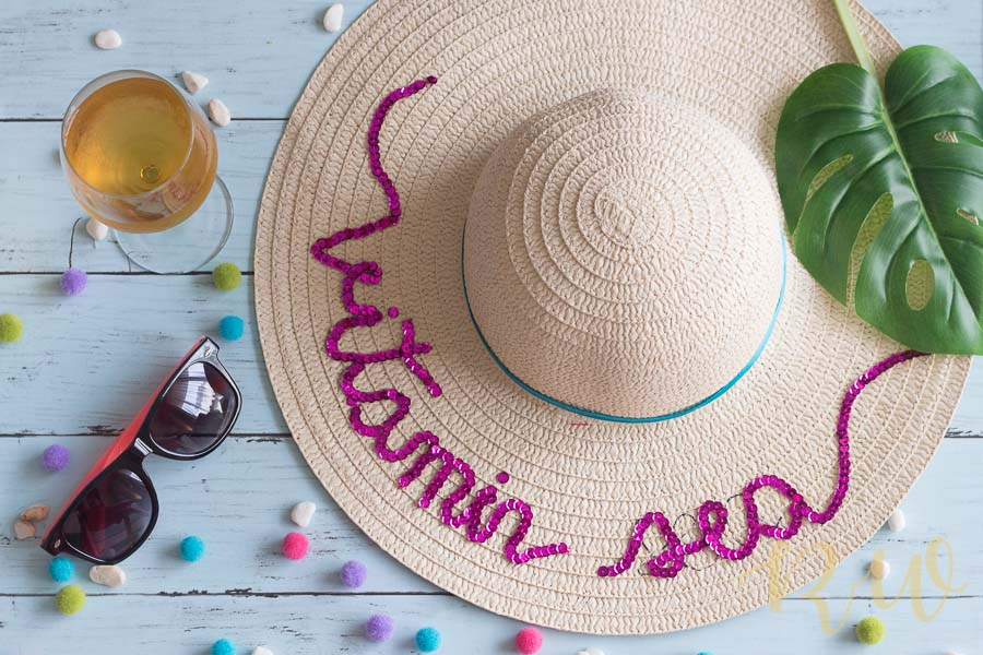 DIY Summer Hat with sequins and pom-poms